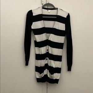 bp Black & White Stripped Long Sleeve Cardigan